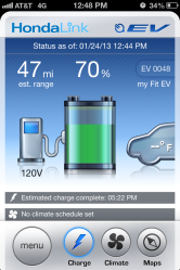 A screencap of my Fit EV Charging (I was closely monitoring the car via the iPhone app)